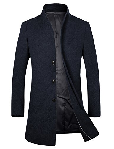 APTRO Men's Wool French Front Slim Fit Long Business Coat 1681 DZDY Navy M (Coat Jacket Long Wool)
