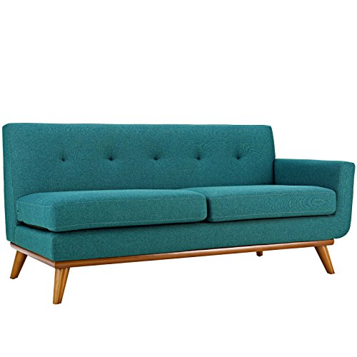 Colored Wood Coffee - Modway EEI-1792-TEA Engage Upholstered, Right-Arm Loveseat, Teal