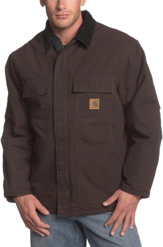 Carhartt Men's Big & Tall Arctic-Quilt Lined Sandstone Duck Traditional Coat C26,Dark Brown,Large - Coat Quilt Lined Arctic