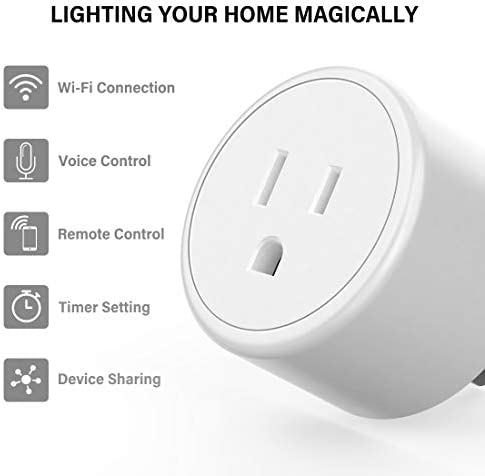 Alexa Smart Plugs – Aoycocr Mini WIFI Smart Socket Switch Works With Alexa Echo Google Home, Remote Control Smart Outlet with Timer Function, No Hub Required, ETL/FCC Listed 4 Pack Only 2.4GHz Network 41s7GRxojeL