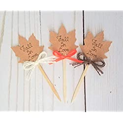 Fall In Love Cupcake Toppers Rustic Fall Bridal Shower Or Fall In Love Baby Shower Decorations, Fall In Love Wedding Decorations, Set Of 12 Cup Cake Picks, Choose Your Bow Color Or An Assortment