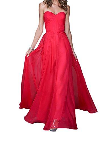 Brautjungfernkleider Braut Rock Lila Marie A La Linie Herzausschnitt Ballkleider Rot Abendkleider Chiffon w07xq5O