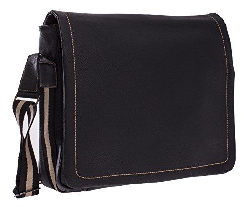 BHBS Unisexe Plaine Mode Vogue Mode Messager Sac Bandoulière - Grand 35x33x7 cm (LxHxP) Noir