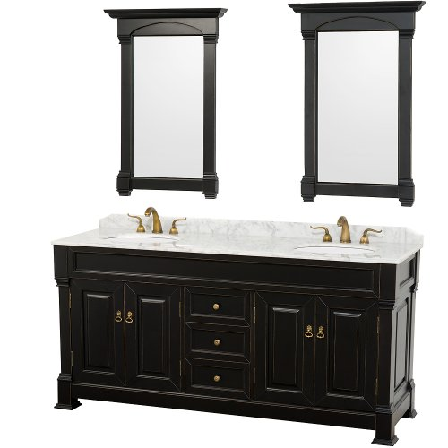 Wyndham Collection Andover 72 inch Double Bathroom Vanity in Antique Black, White Carrera Marble Countertop, White Undermount Round Sinks, and 28 inch Mirrors