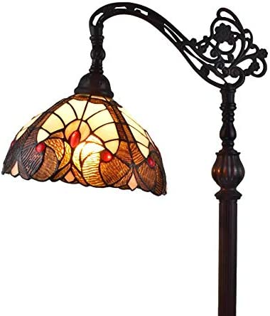 Amora Lighting Tiffany Style Floor Lamp Arched Vintage Antique 62 Tall Stained Glass Brown Red Tan Traditional Light Decor Bedroom Living Room Reading Gift AM344FL12, 12 Inch Diameter, Multicolored