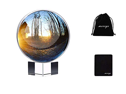 Photography Crystal Ball with Stand and Microfiber Pouch, K9 Optical Glass Reflective Sphere Ball, Clear Photography Divination and Decoration (80mm/3.15)