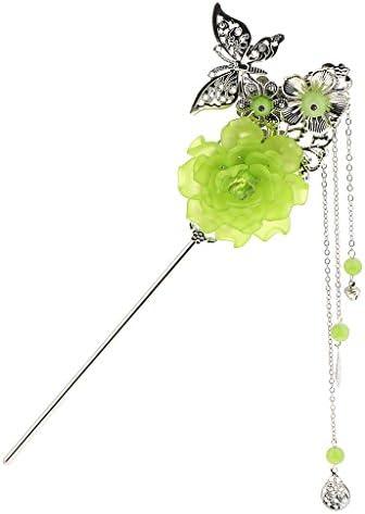 [해외]D DOLITY 중화 풍 일본 옷 簪 비즈 나비 꽃 전통 술 머리 장식 전 3 색 1 쌍 들-녹색 / D DOLITY Chinese Style Japanese Clothing Beads Butterfly Flowers Traditional Tassel Hair Ornaments All 3 Colors 1 Pair - Green