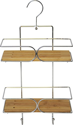 EVIDECO Wall Shower Caddy Basket 2 Bamboo Shelves with Pivoting Hanger Chrome -