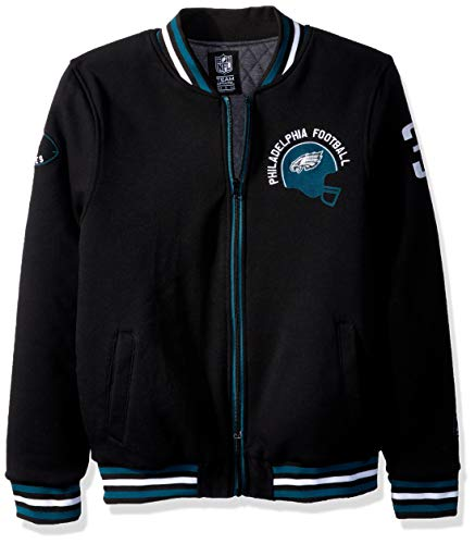 ICER Brands NFL Philadelphia Eagles Men's Full Zip Fleece Vintage Letterman Varsity Jacket, X-Large, Black