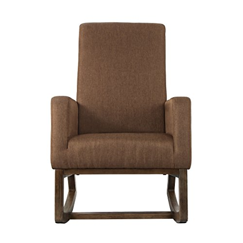 U-LALA Retro Modern Fabric Comfortable Single Rocking Chair,Brown