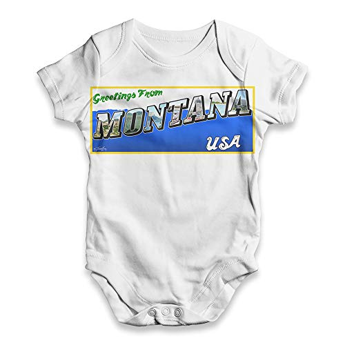 (TWISTED ENVY Baby Boy Onesie Greetings from Montana USA White 3-6 Months )