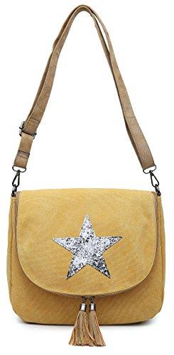 Big Bucket Style Size Trendy Zip Glitter Mustard Yellow Flapover Tassel Shoulder Fabric Round Star Canvas Bag Body Shop Medium Handbag Cross Oxq64Or