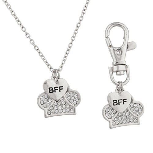 Pendant Dog Tag Combo (Lux Accessories BFF Best Friend Forever Dog Pet Animal Keychain Tag & Necklace Combo Collar Pave Paw Heart.)