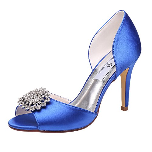 (M MULGARIA Women High Heel Peep Toe D'Orsay Pumps Rhinestones Satin Evening Prom Wedding Shoes (JM-5623-EU 36/5.5B(M) US Blue))