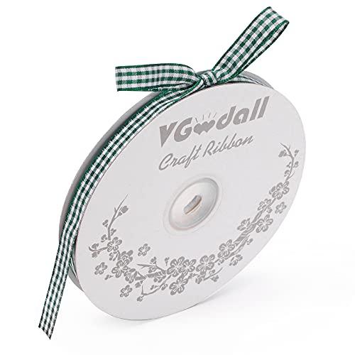 VGoodall Dark Green Gingham Ribbon, 3/8 x 50Yd Picnic Craft Ribbon Dark Green Ribbons for Hair Accessories Craft and Christmas Gift Wrapping