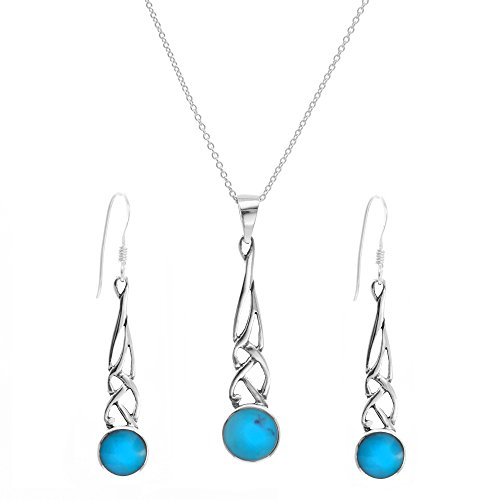 Gaelic Jewelry - Silverly Women's .925 Sterling Silver Simulated Turquoise Celtic Dangle Earrings Necklace Set, 46 cm