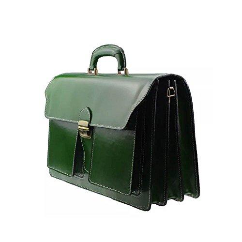 Borsa Cartella Portadocumenti Vera Pelle Made in Italy modello SFB 3+2 Verde