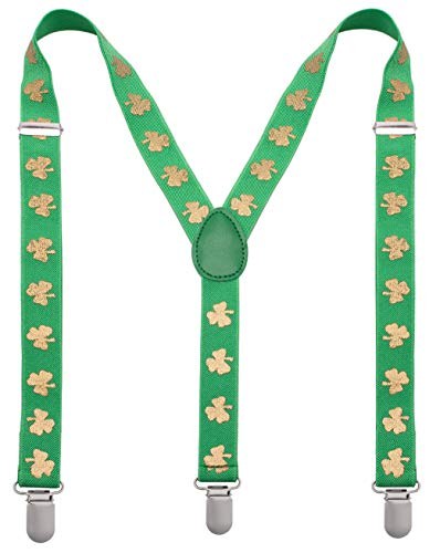 St Patrick Day Men Suspenders - Green Mens Suspenders with Gold Shamrocks - Many Colors to Choose From -