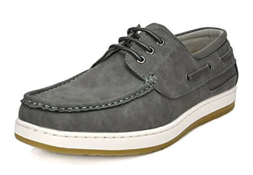 Bruno Marc Men's Pitts_16 Grey/Grey Oxfords Moccasins Boat Shoes Size 13 by Bruno Marc