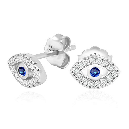 - 925 Sterling Silver Cubic Zirconia Mini Evil Eye Jewish Post Stud Earrings