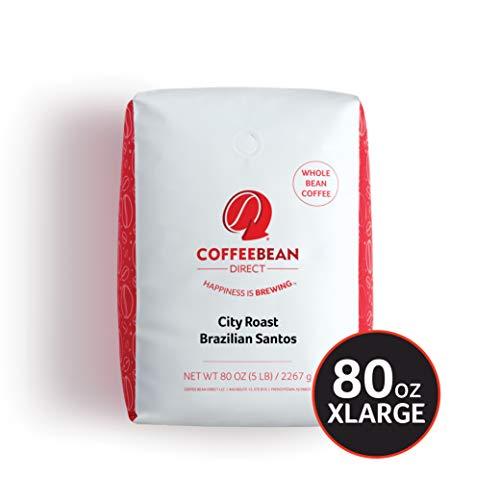Coffee Bean Direct City Roast Brazilian Santos, Whole Bean Coffee, 5-Pound Bag