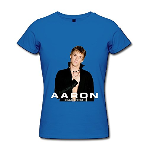 SHUNAN Women's Aaron Carter T-shirt Size L RoyalBlue (Aaron Shirt Carter)