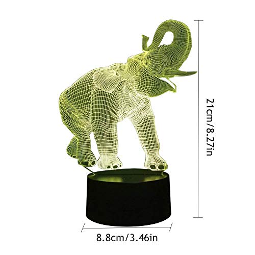 Novelty Lamp, 3D LED Night Light Illusion Lamp Elephant Pattern Three-Dimensional 7 Color Change Decor Lamp Touch Switch,Ambient Light by LIX-XYD (Image #1)