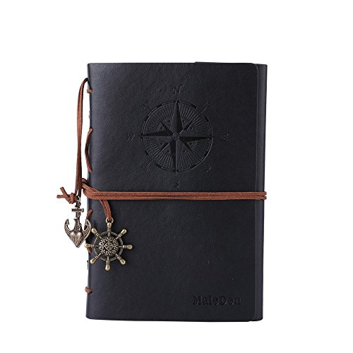 Leather Journal Notebook, MALEDEN Vintage Spiral Notebook Refillable Daily Planner Embossed Travel Journal Diary with Blank Pages and Retro Pendants (Black)