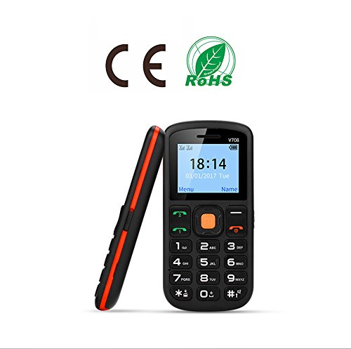 Senior Cell Phone, UNIWA V708 2G GSM Mobile Phone, Dual SIM SOS Large Button 1.77 Inch Screen 800mAh Battery Large Digital Emergency Phone with Charging Cradle for Senior Elderly Kids Old Man