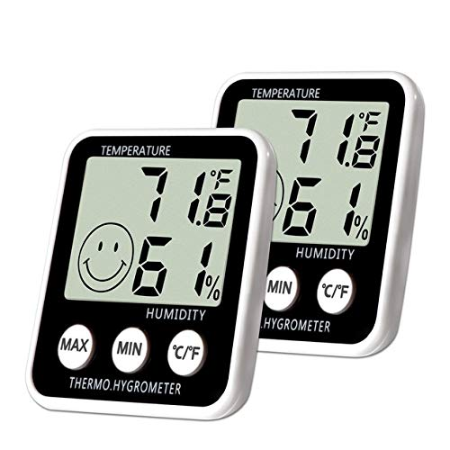 Digital Thermometer Indoor Hygrometer Humidity Meter Room Temperature Monitor Large LCD Display Max/Min Records for Home Car Office by SoeKoa (2 Pack) by SoeKoa