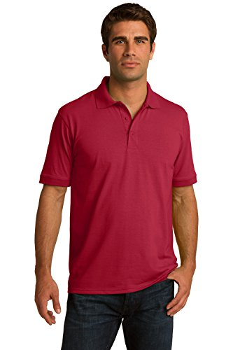 Sportoli Men's Cotton Blend Solid Everyday Uniform Short Sleeve Polo Shirt Top - Red (2X-Large)