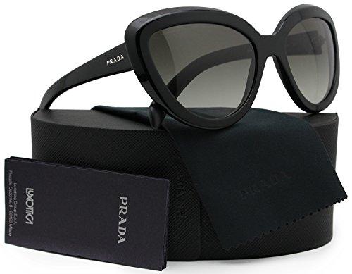 Authentic Prada Sunglasses (Prada SPR08R Ornate Sunglasses Shiny Black w/Grey Gradient (1AB-0A7) PR 08RS 1AB0A7 57mm Authentic)