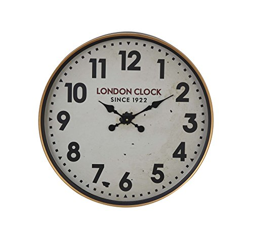 (Deco 79 52585 Wall Clock, White/Oak Brown/Black/Red )