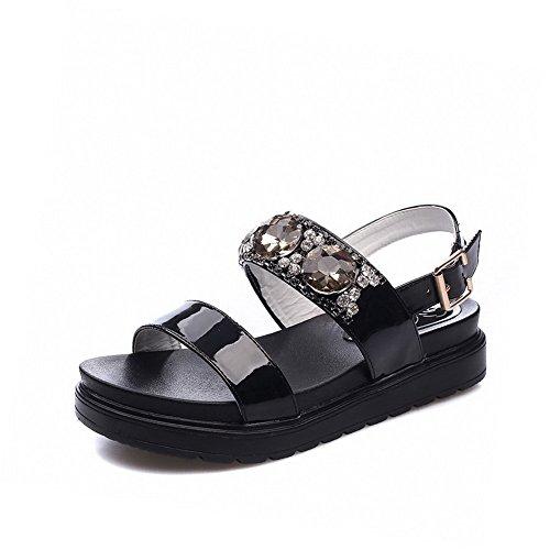 Amoonyfashion Mujeres Low-heels Solid Hebilla Material Suave Sandalias Open-toe Negro