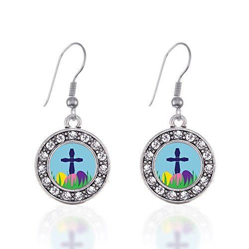 Easter Cross & Eggs Circle Charm Earrings French Hook Clear Crystal Rhinestones