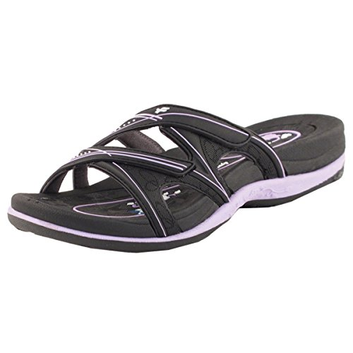 (Gold Pigeon Shoes GP Slide Sandals for Women: 7534 Black Purple, EU39 (US Size 8-8.5))
