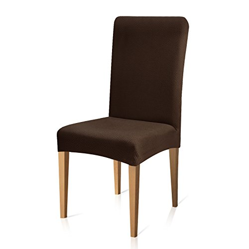 Subrtex Stretch Dining Room Chair Slipcovers(6, Coffee Knit)