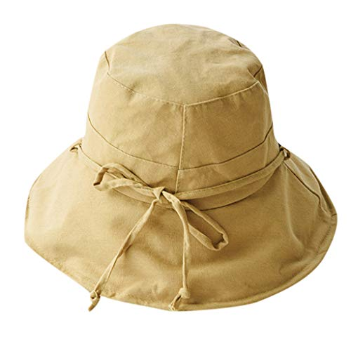 - WYTong Ladies And Girls Beach Hats Art Wild Cute Visor Cotton And Linen Sunscreen Folding Fisherman Hat(Khaki,Free size)