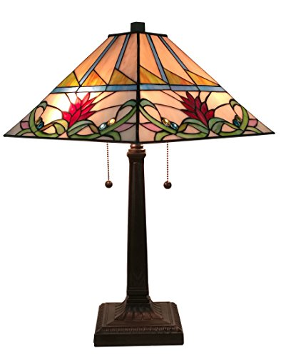 Amora Lighting AM311TL14 Tiffany Style Multi-Color Mission Table Lamp, 14″W x 22″H