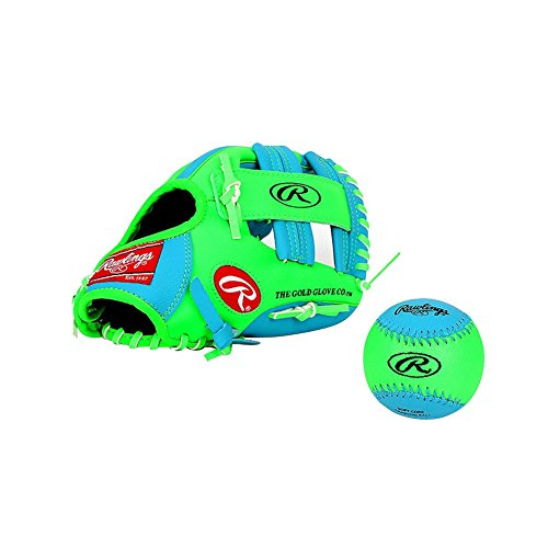 Crew Kids Glove (Rollings children kids all round right handed Baseball Glove Blue&Green Color 10.5inch)