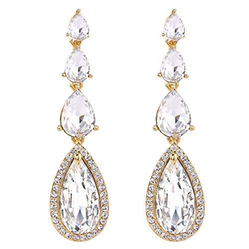 Gold Teardrop Chandelier Earrings - BriLove Wedding Bridal Dangle Earrings for Women Elegant Multi Teardrop Long Chandelier Earrings Clear Gold-Toned