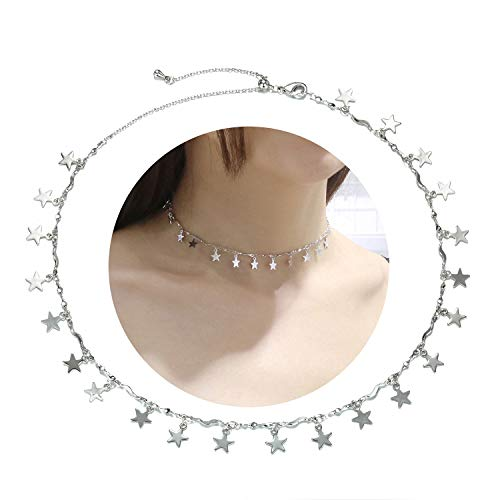 EGOO YAMEE Layered Star Necklace Pendant Handmade White Gold Plated Dainty Gold Choker Long Necklace for Women