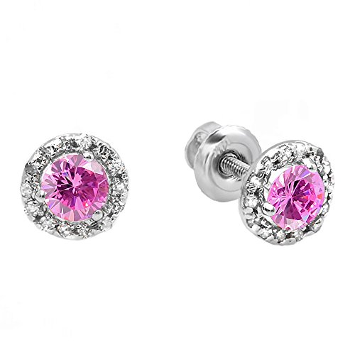 Dazzlingrock Collection 18K 3 MM Round Pink Sapphire & White Diamond Halo Stud Earrings, White Gold ()