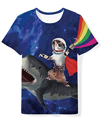 (Youth Boys Girls Funny T Shirt Beautiful Magic Cat Riding Shark Printed Tees Purple Galaxy Tops Colthes for Kids 14-16 Years)