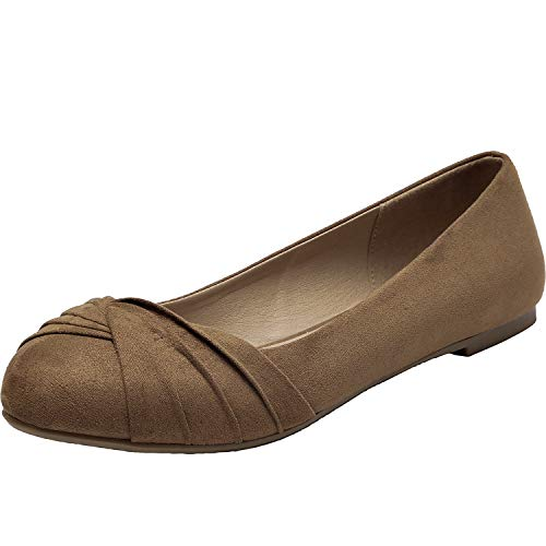 Aukusor Women's Wide Width Flat Shoes - Slip On Pointed Toe Ballet Flats.(BrownSuede 181011,7W) ()