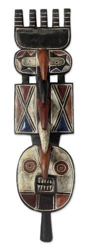 NOVICA Decorative Large Sese Wood Mask, Multicolor, 'Earth Goddess Spirits' by NOVICA