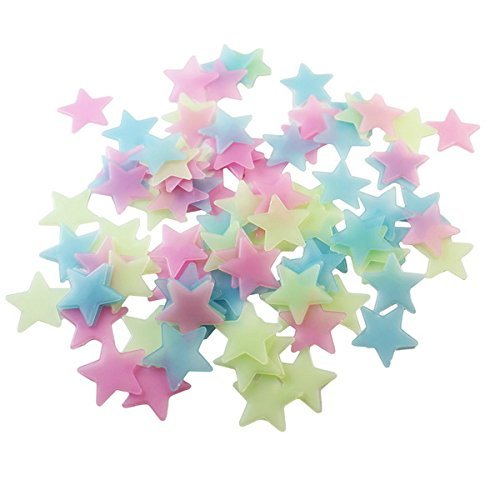 OWIKAR 100pcs Glowing Stars Wall Decals Red Yellow Blue Assorted Colors Luminous 3D Solid Wall Stickers 1.18 inch For Kids Baby Room Decoration (1) (Christian Halloween Sunday School Crafts)