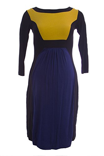 Olian Maternity Women's Color Block Lucy Crew Neck Dress Small Yellow Blue