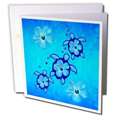3dRose Macdonald Creative Studios – Hawaii - Hawaiian Honu Turtles and Flowers in The Ocean. - 12 Greeting Cards with envelopes (gc_296206_2)
