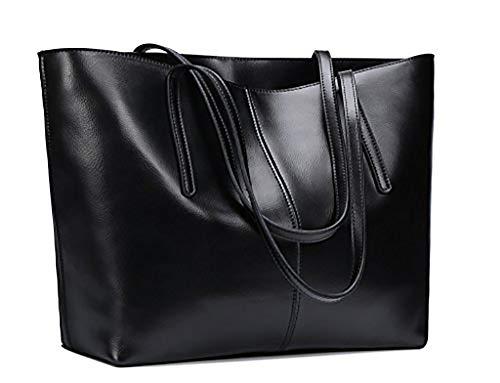 Obosoyo Women's Handbag Genuine Leather Tote Shoulder Bags Soft Hot (Black2)